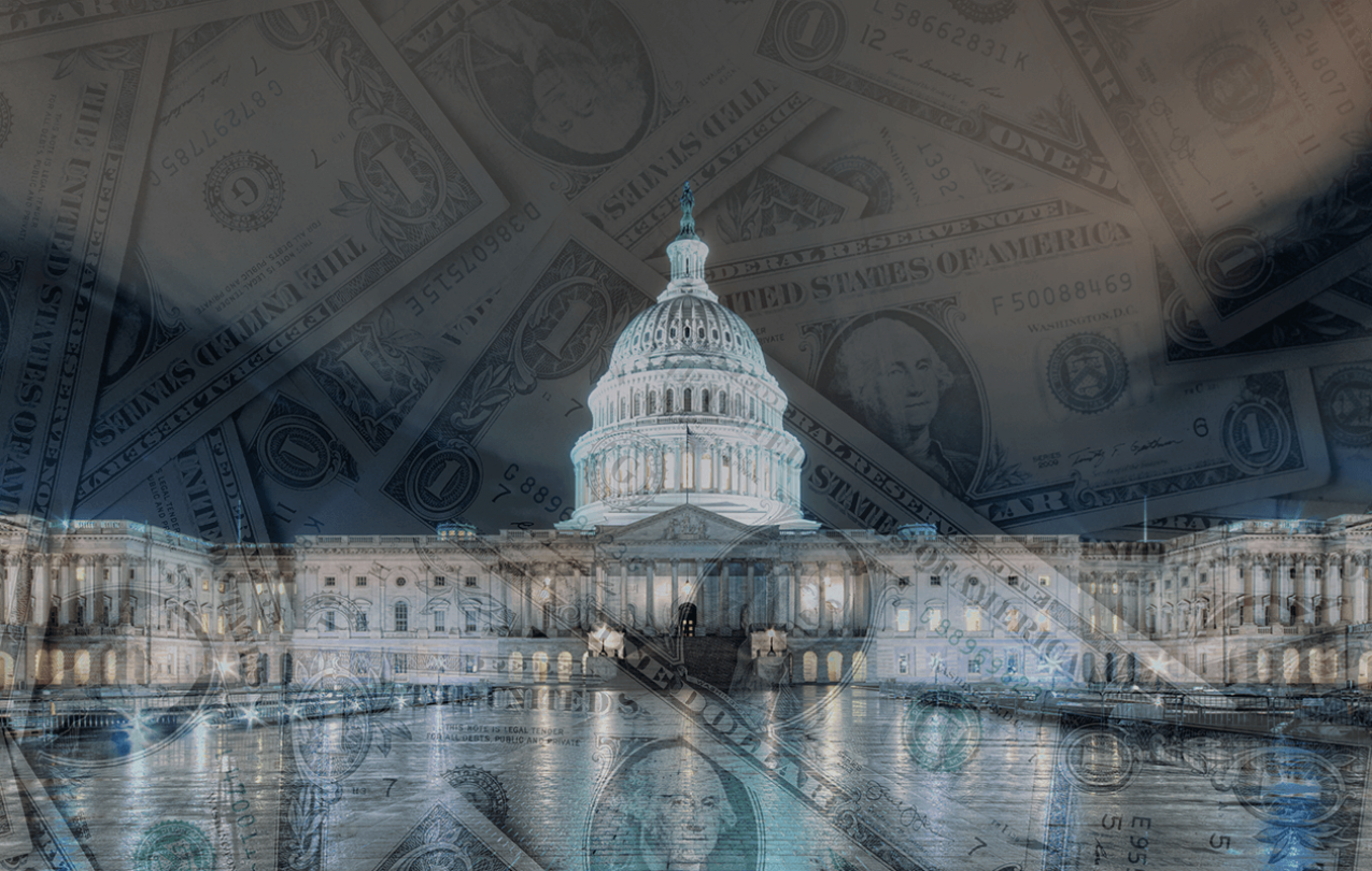 Photograph of the U.S. Capitol building at night overlaid with transparent images of the U.S. $1 bill.